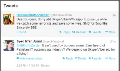 My tweet to Bilal Bhutto Zardari regarding Sind government's ban on skype, viber and whatsapp